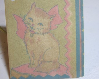 Adorable 1930's art deco P.F. Volland bridge tally sweet kitten wearing big pastel pink bow sitting on matching pillow deco border parchment
