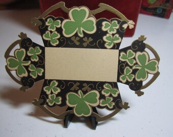 1920's unused die cut gold gilded Gibson St. Patrick's Day nut cup green clovers shamrocks