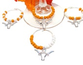 Set of 4 Texas Longhorn Wine Glass Tags with Longhorn or Football Charms