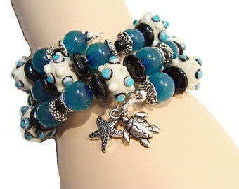 Under the Sea Wrap Bracelet with Lampwork Beads and Sea Charms
