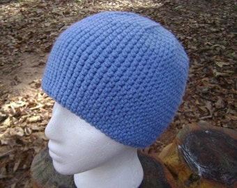 Crochet Beanie Skullcap Hat Men Women Teen Country Blue