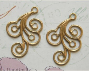 Raw Brass Swirl Stamping Drop Embellishment 20mm x 30mm - 4 pcs. (r188)