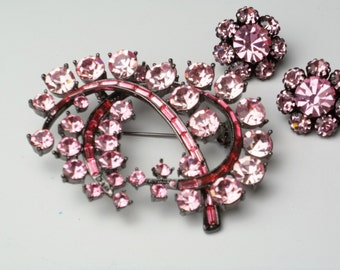 Vintage Hollywood Glamour Brooch Fuschia Pink Baguette Rhinestone Demi Parure Pin Earrings 1950's Costume Jewelry Set Gift For Her on Etsy