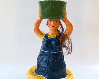 Paper mache doll, Cell phone holder,  Eco friendly mobile phone stand, Woman in blue, home decor, Valentines day