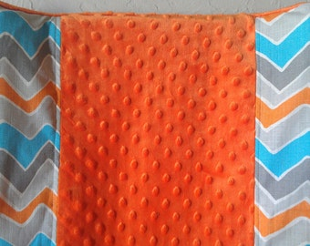 Deluxe Orange Turquoise Seesaw and Minky Contour Changing Pad Cover