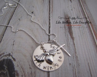Personalized Jewelry With Wings She Flies Hand Stamped Necklace - In Memory of Your Loved One - Memorial Necklace - Mothers Day Gift