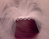 Bridal Veil  trim with pearls on the comb beads on