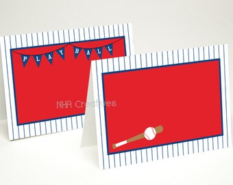 Baseball Place Cards - Baseball Bat and Play Ball - DIY Printable Digital File