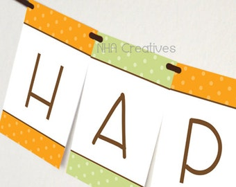 Happy Birthday Pumpkin Banner - DIY Printable Digital File