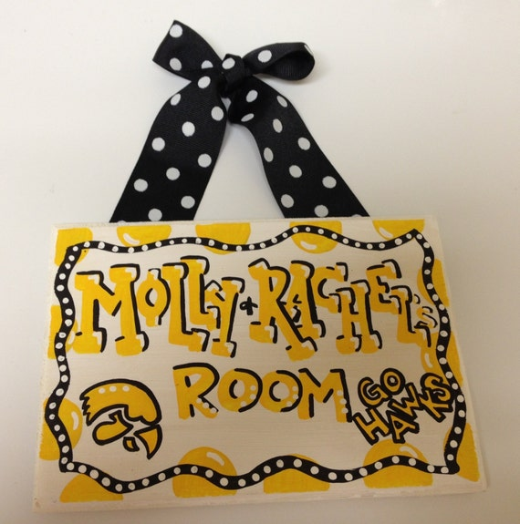 The university of iowa hawkeyes dorm room sign by for Iowa hawkeye decor