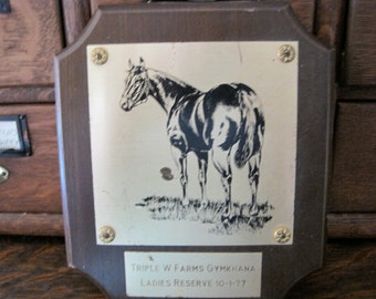 Vintage Triple W Farms Gymkhana Ladies Reserve Horse Plaque