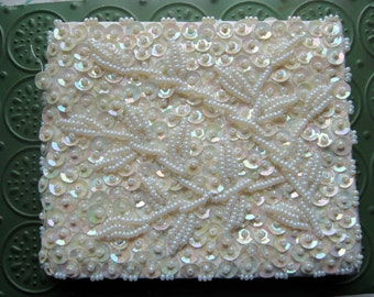 Beautiful Vintage GMB White Hand Beaded Wallet