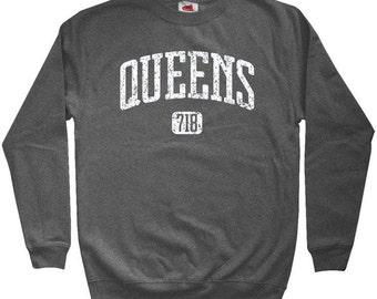 Queens 718 Sweatshirt - Men S M L XL 2x 3x - Crewneck Queens NYC Shirt - New York City - 4 Colors