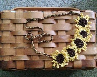 Delicate Sunflower Crochet Cotton Fall Necklace