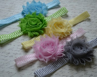 Set of Five Shabby Chic Chevron Headbands...Photography Prop...Baby Girl Headbands...Baby Bows...Shabby Chic Rosettes