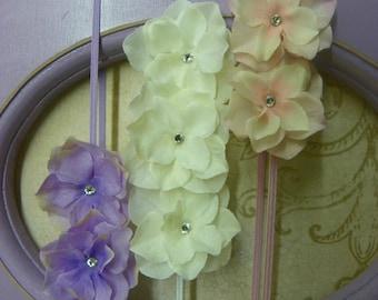 Water Color Hydrangea Headbands...Baby Bows...Set of Three Headbands...Baby Girl Headbands...Flower Headbands