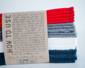 Baby Wipes Cloth Wipes Set of 20  -  Baby Wipes - Reusable Flannel Wipes (Red - Grey- White - Blue)
