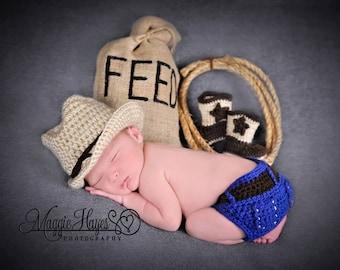 Newborn Cowboy Hat, Diaper Cover and Cowboy Boots