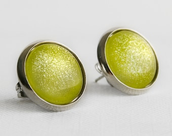 Pear Shimmer Post Earrings in Silver - Light Lime Green Studs with Gold Shimmery Sparkles
