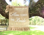 Burlap Here Comes the Bride Sign Flower Girl or  Ring Bearer Rustic Farmhouse Shabby Chic Wedding Sign