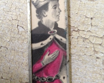 Funny Prince Charming pendant (double sided) made from vintage books