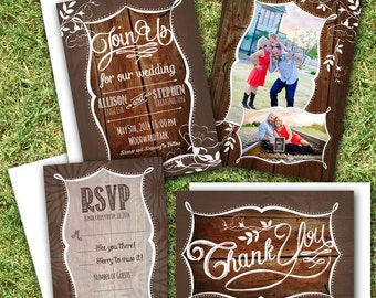 Printing Included - Rustic Wedding Invitation with Photos, Reply Card, Save the Date, Thank You, & Custom Envelopes