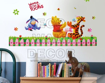 PEEL and STICK Kids Nursery Removable Vinyl Wall Sticker Mural Decal Art -  Winnie the Pooh Playing Hand Clapping Games
