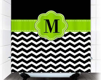 Black White Chevron Monogram Fabric Shower Curtain - You choose accent color