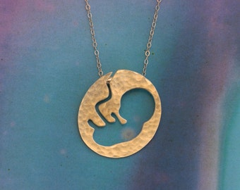 Gold Fetus in a uterus Necklace , Pregnancy Announcement , Gift for mom to be , Midwife , Doula