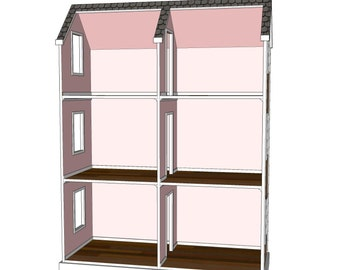 Doll House Plans for American Girl or 18 inch dolls 4 Room