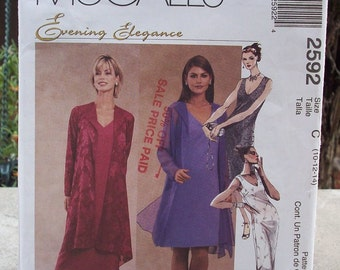 McCall's  2592 Evening Elegance Sewing Pattern  for Misses  Size 10, 12 and 14  ~  McCall's Jacket and Dress in Two Lengths