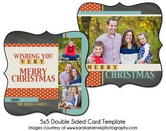 Christmas Card Template - CHEERFUL CHRISTMAS - 5x5 Double Sided Card Template