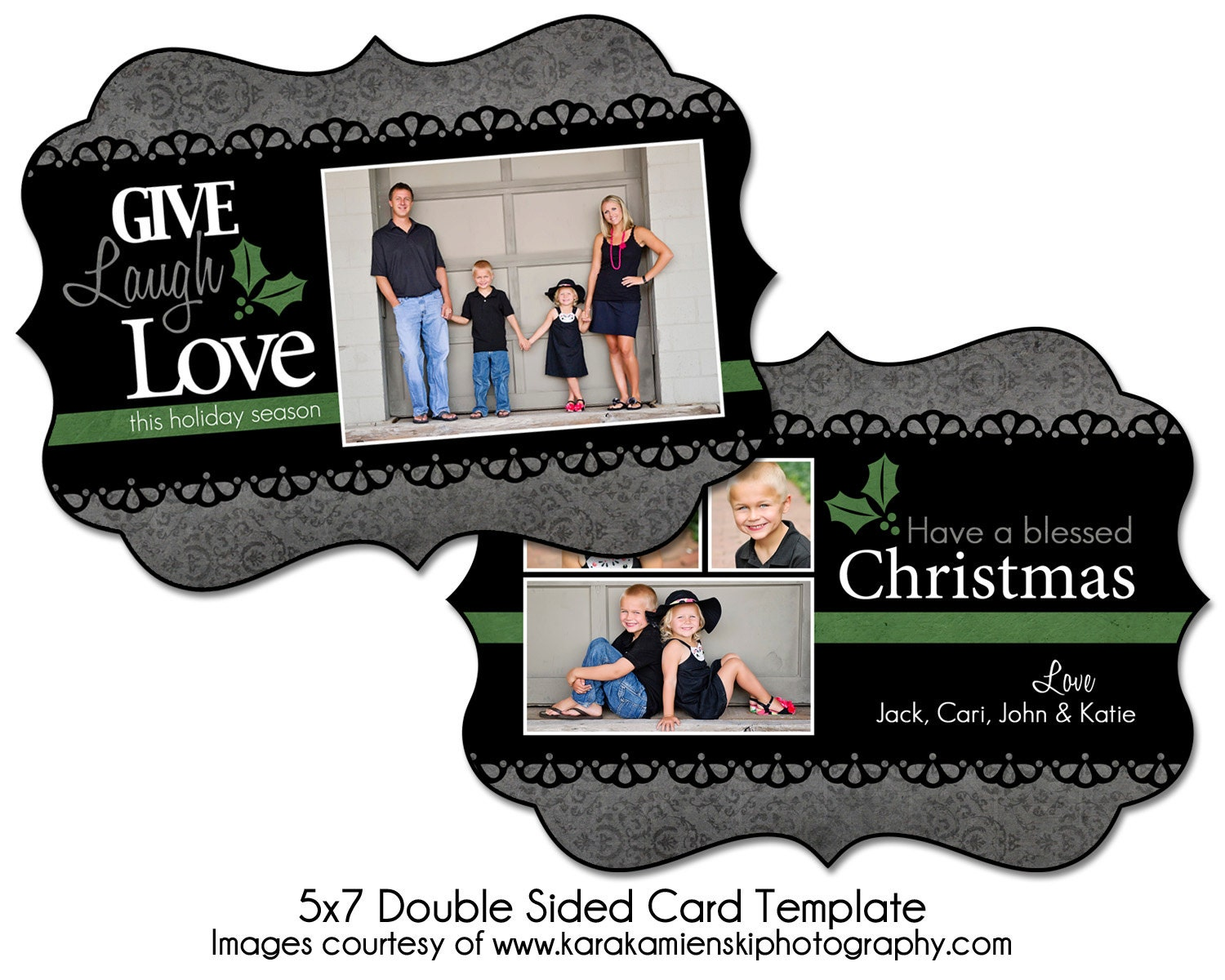 christmas card template holly lace 5x7 double sided card. Black Bedroom Furniture Sets. Home Design Ideas