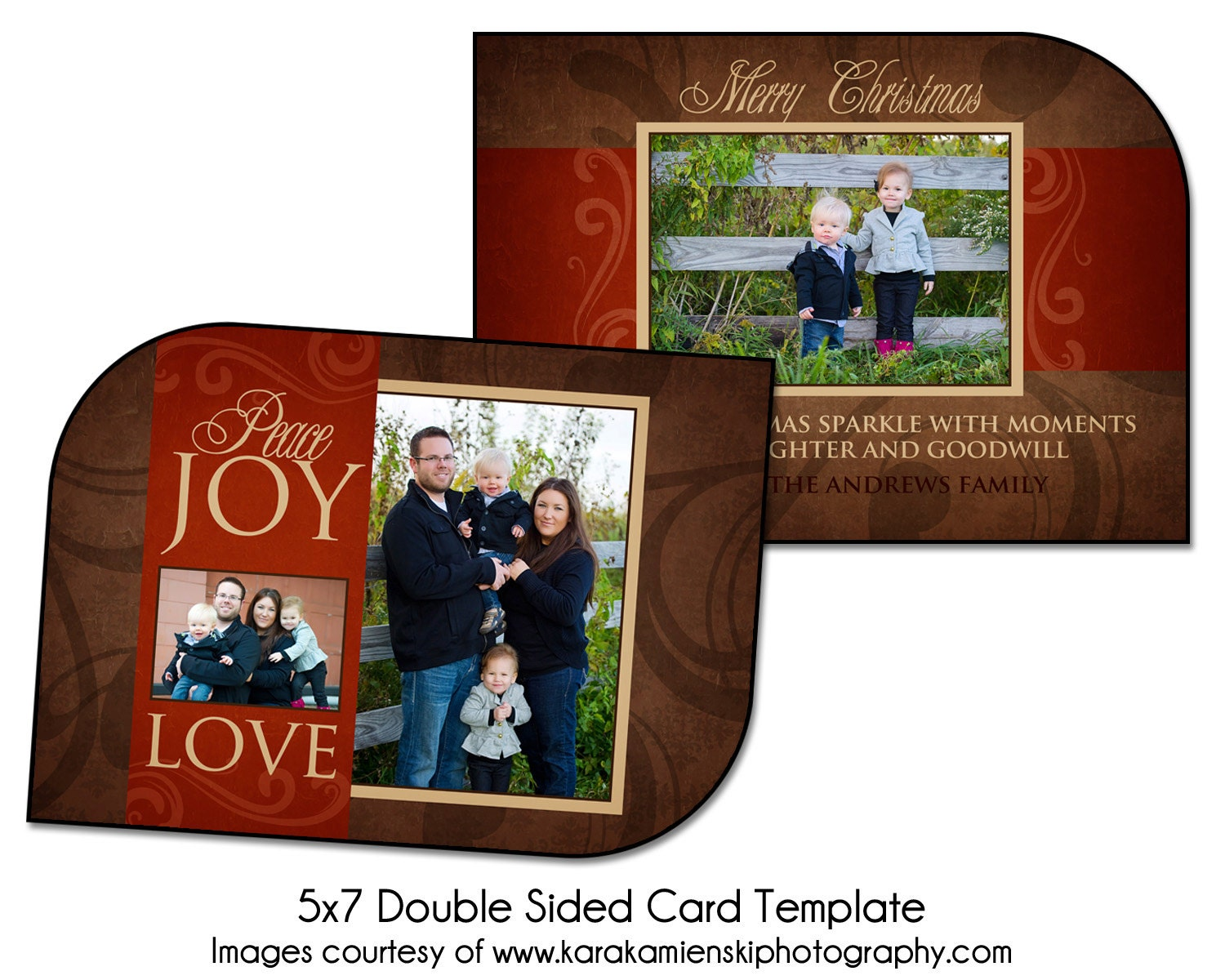 christmas card template family joy 5x7 double sided card. Black Bedroom Furniture Sets. Home Design Ideas