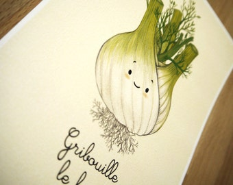 "Fennel illustration - Gribouille le fenouil // Lovely vegetables series // 6x8"" print"