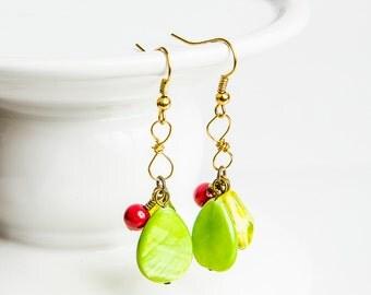 Green Teardrop Earrings, Recycled Green Earrings, Wire Work Earring,  Wire Work Dangle, Wire Earring, Green Wire Jewelry, Figure Eight Drop