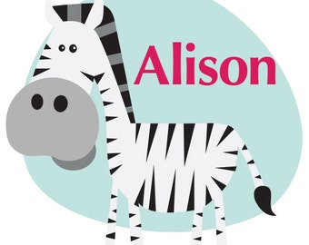 Kids vinyl wall art decal: Animal Monograms-Zebra in shape with name