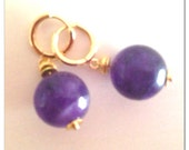 Stylish everyday earrings made of gemstone and czech crystal beads with gold details