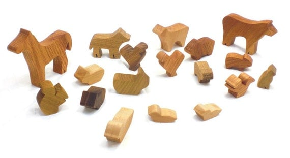 Natural Wood Farmyard Animals