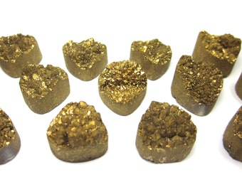Agate Druzy Gold Cabachon 14mm - 3pc Pear Shaped Stone (Lot C01) SALE