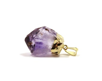 """Amethyst Crystal Raw Pendant Gold 1 Rough Purple Stone 33mm - 37mm / 1.3"""" - 1.5"""" (Lot B06G) Natural Mineral SALE"""
