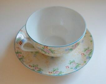 Beautiful Hand Painted Tea Cup and Saucer - Floyd Jones Vintage
