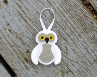 Felt White Baby Snowy Owl Ornament
