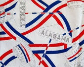 Vintage 70s Red White & Blue Political Skimmer Hat Cotton Fabric Remnant 1 Yard