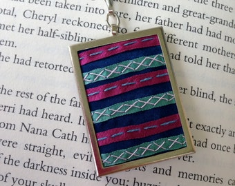 Geometric Necklace, Pink and Aqua Striped Pendant - by BeanTown Embroidery