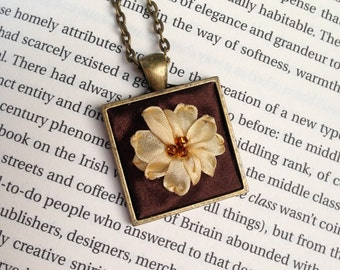 Yellow and Brown Beaded Embroidered Pendant Necklace - Silk Ribbon Embroidery by BeanTown Embroidery