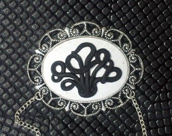 Handmade Cthulhu Octopus Pendant on a Silver Plated Chain Gothic Steampunk Emo Punk