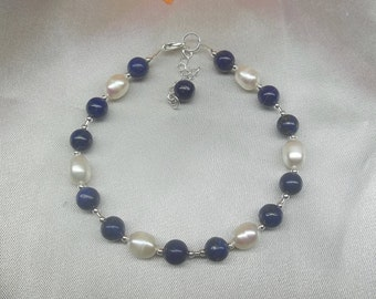 Blue Lapis Bracelet White Pearl Bracelet Adjustable Bracelet Blue Lapis Lazuli Bracelet 925 Sterling Silver Lapis Jewelry BuyAny3+Get1 Free