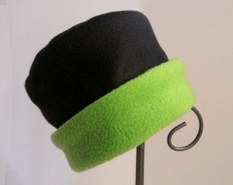 Black and Lime Fleece Hat, Roll Brim Hat, Soft and Warm Hat, Black and Green Hat, Fleece Hat