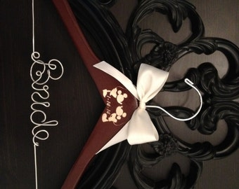 Disney Wedding Hanger, Bridal Hanger, Bride Hanger, Mickey & Minnie Wedding, Disney Wedding, Personalized Hanger, Mickey Hanger